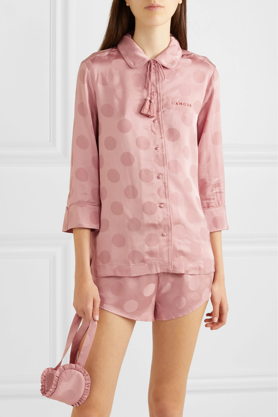 Love Stories Joe, Frenchie and Sunday polka-dot satin-jacquard pajama set