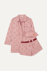 Joe, Frenchie and Sunday polka-dot satin-jacquard pajama set