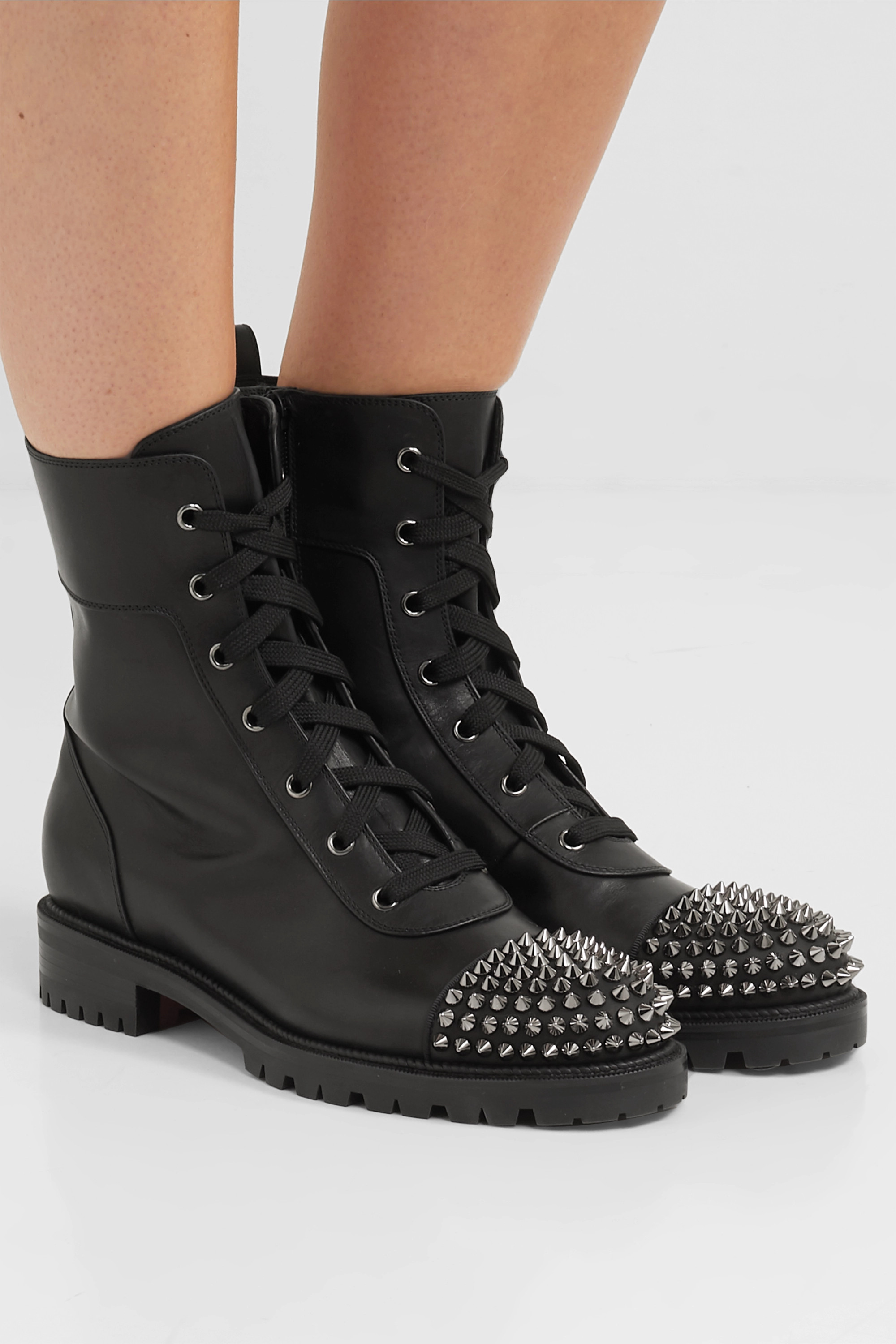 Black Spiked leather ankle boots
