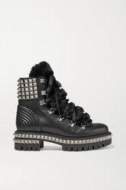 Yeti Donna shearling-trimmed studded leather ankle boots
