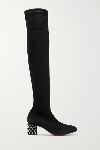 new product 81d0f 0c985 Study Stretch 55 Spiked Suede Over-The-Knee Boots in Black