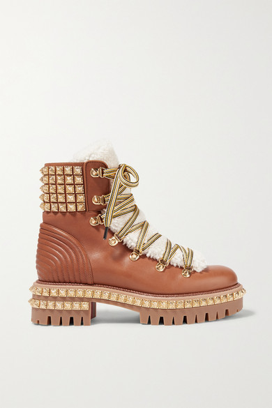 yeti-donna-shearling-trimmed-studded-leather-ankle-boots by christian-louboutin
