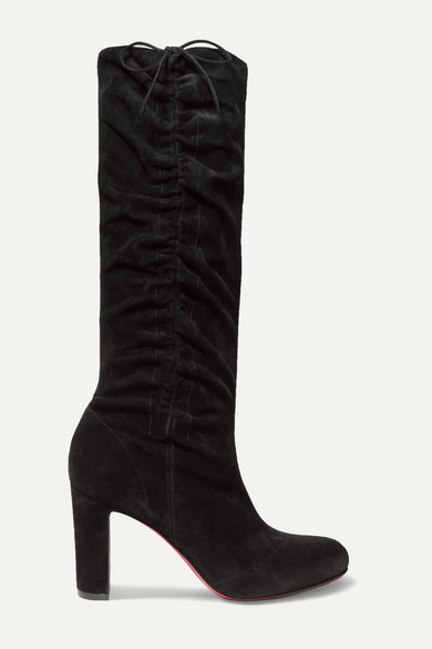 douce-85-ruched-suede-knee-boots by christian-louboutin