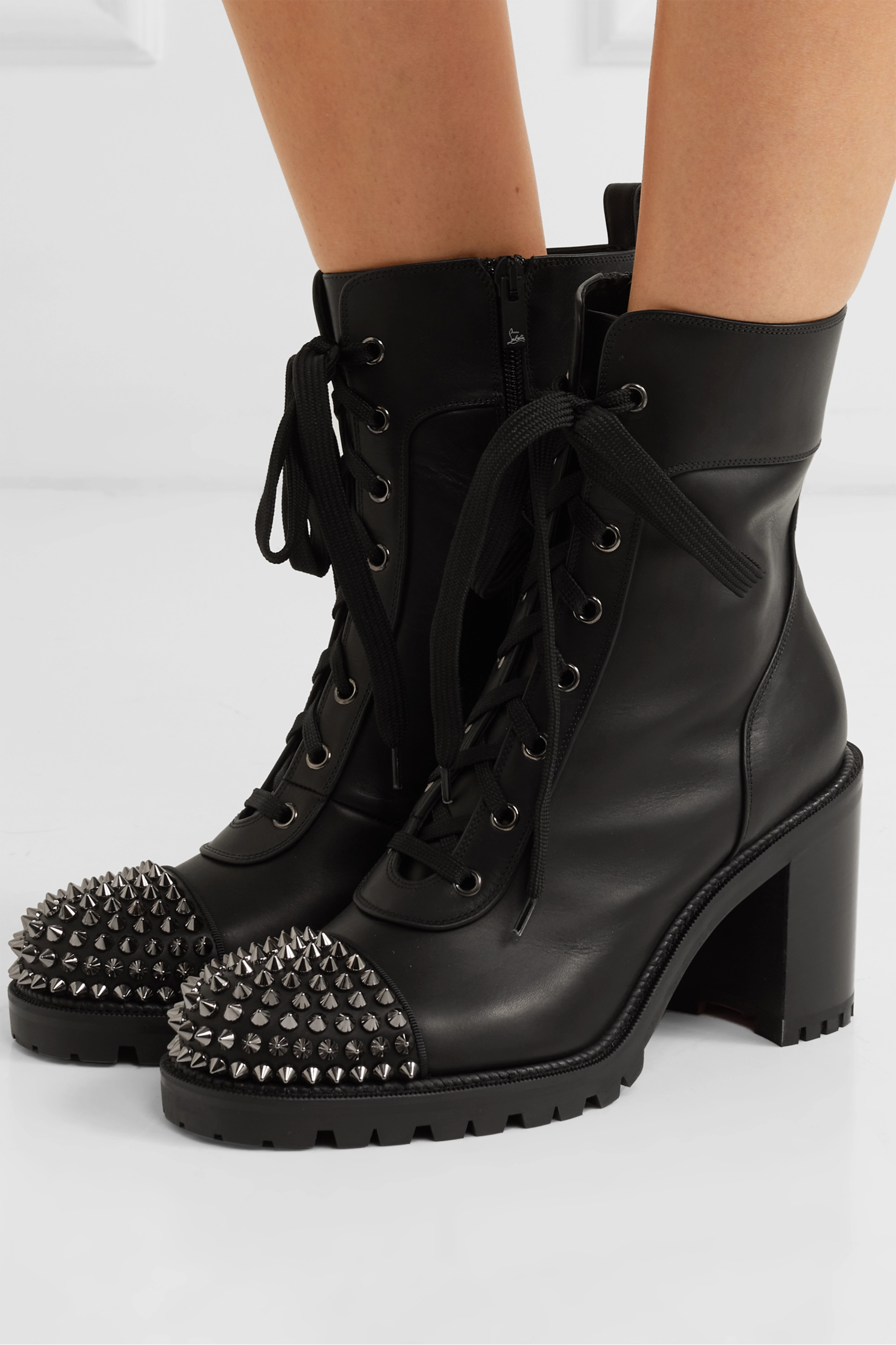 Black TS Croc 70 spiked leather ankle
