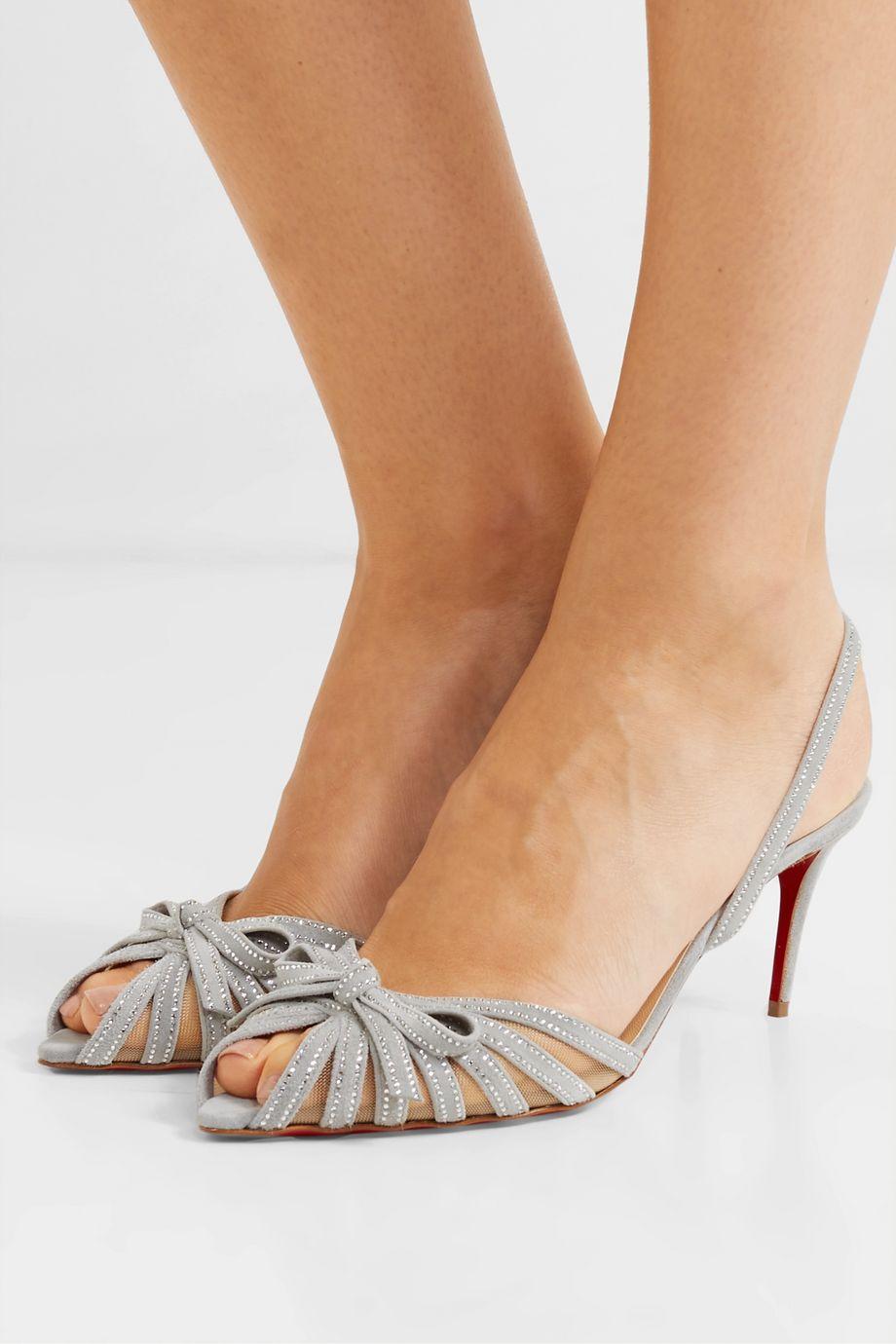 Christian Louboutin Araborda 70 crystal-embellished suede and mesh slingback sandals