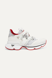 Red Runner Donna glittered mesh and leather sneakers