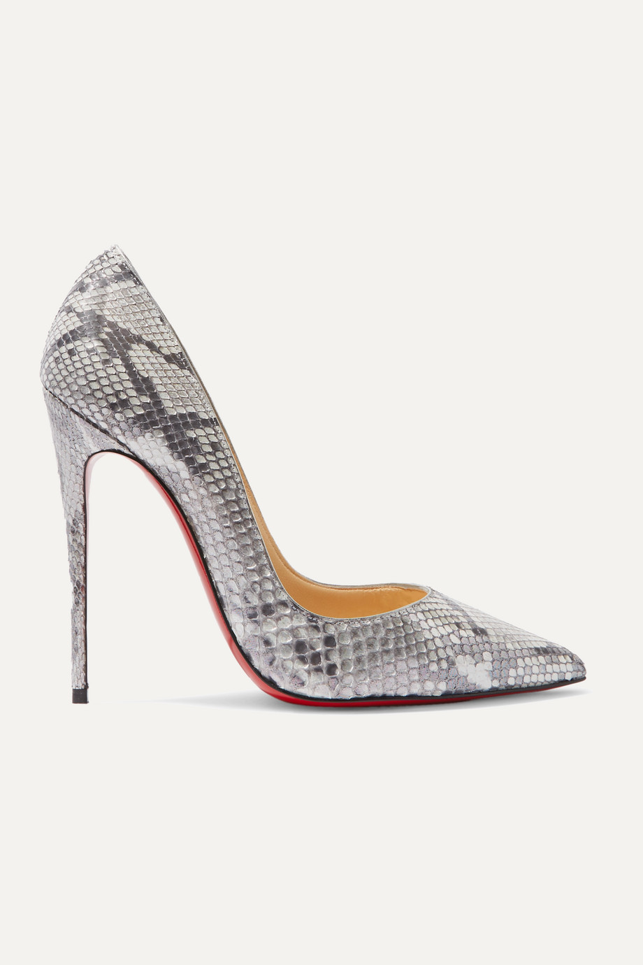 Christian Louboutin Escarpins en python métallisé So Kate 120