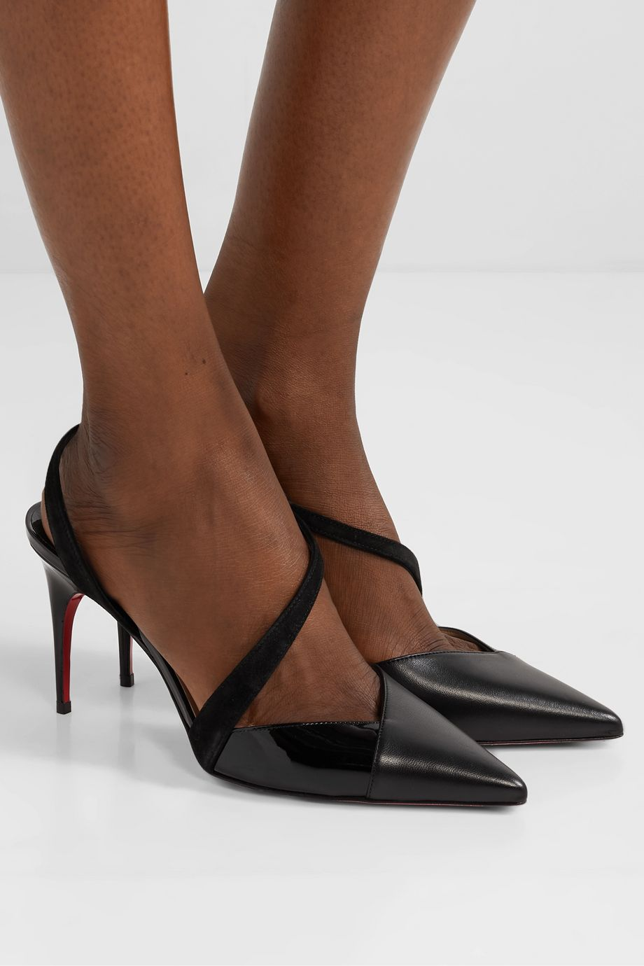 Christian Louboutin Platina 85 suede-trimmed patent and smooth leather slingback pumps