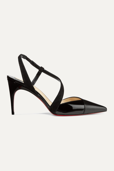 Platina 85 Suede Trimmed Patent And Smooth Leather Slingback Pumps