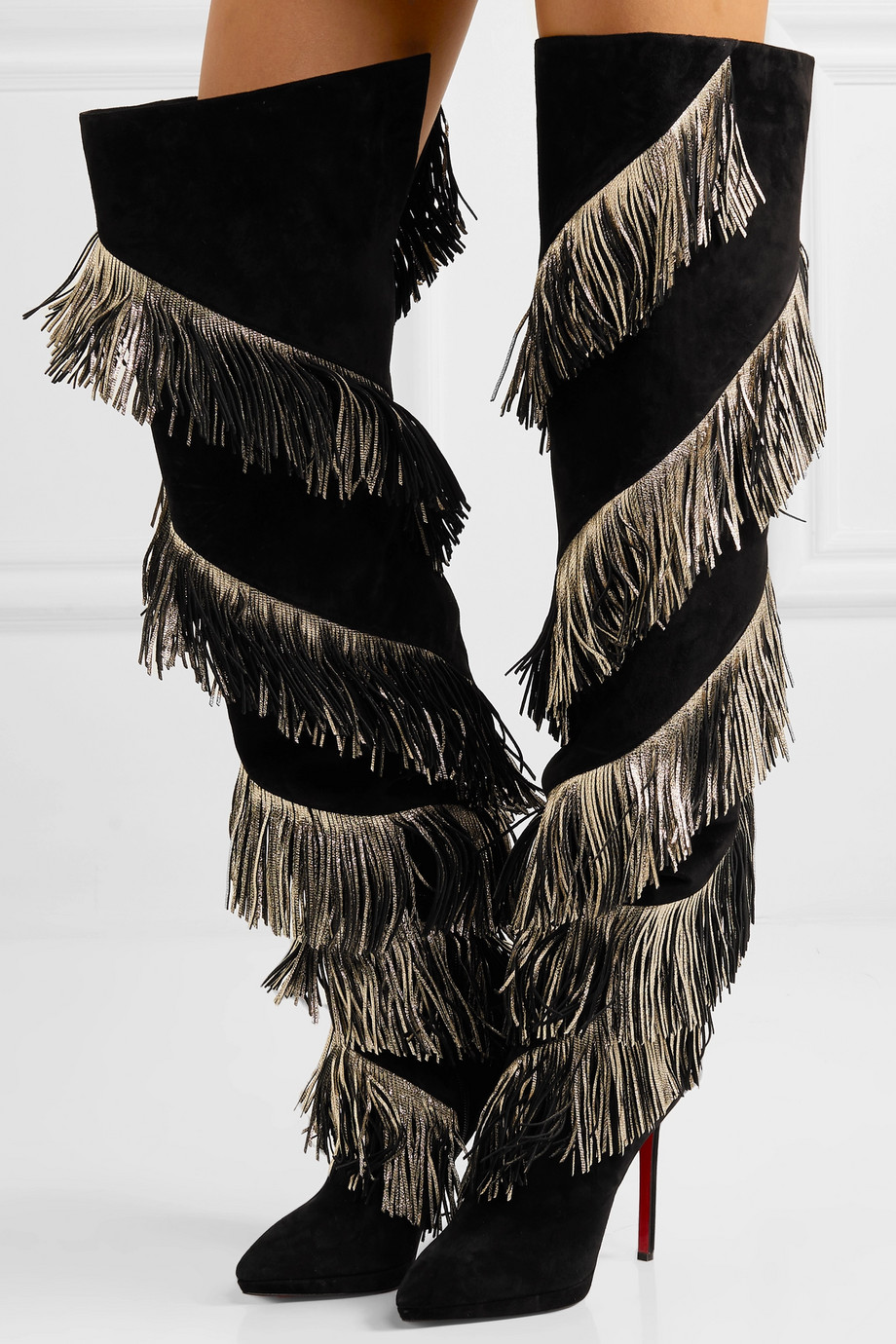 Christian Louboutin Bolcheva 120 fringed suede over-the-knee boots