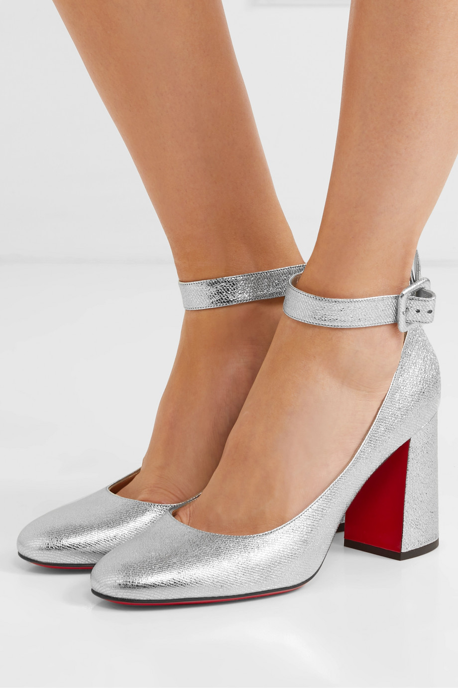 Christian Louboutin Soval 85 metallic textured-leather pumps