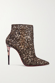 Christian Louboutin Nancy 100 embellished lace-trimmed flocked tulle ankle boots