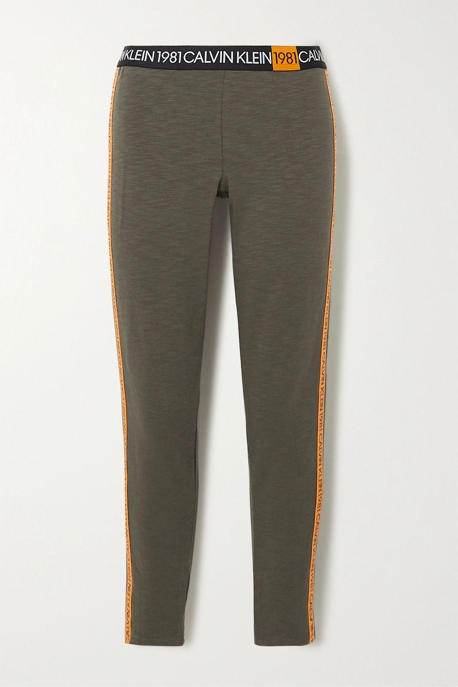 Calvin Klein Underwear Striped cotton-blend jersey leggings