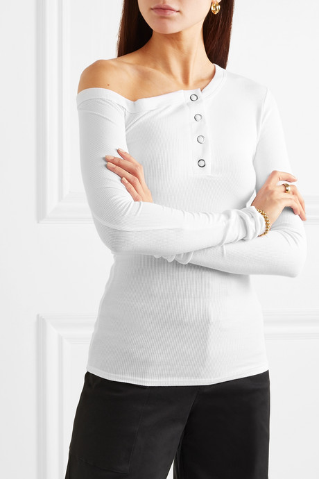 Harley off-the-shoulder ribbed-jersey top