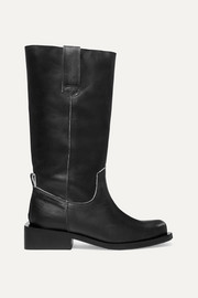 GANNI MC logo-print leather knee boots