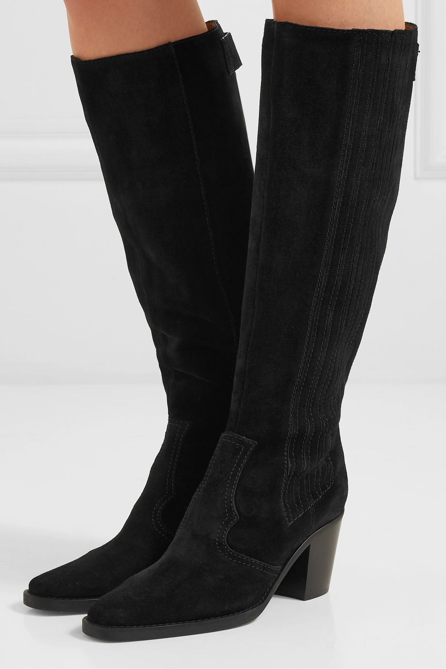 GANNI Western suede knee boots