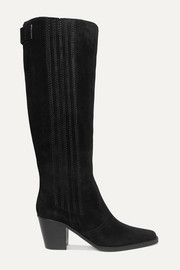 Western suede knee boots