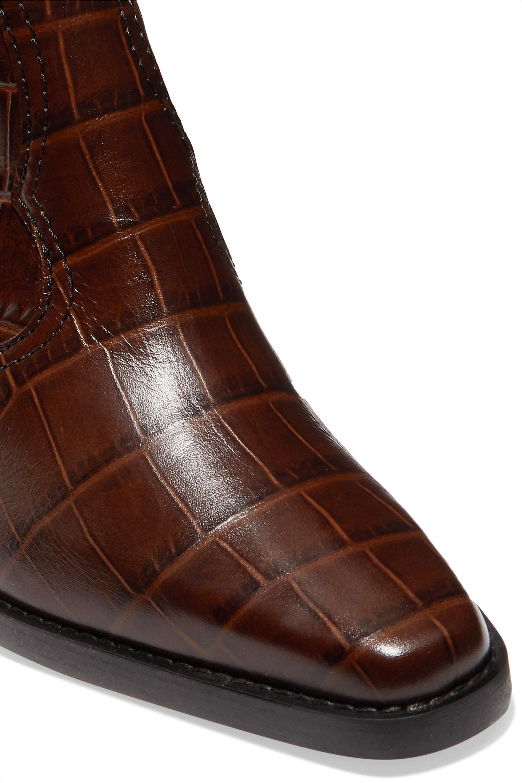 GANNI Western croc-effect leather knee boots