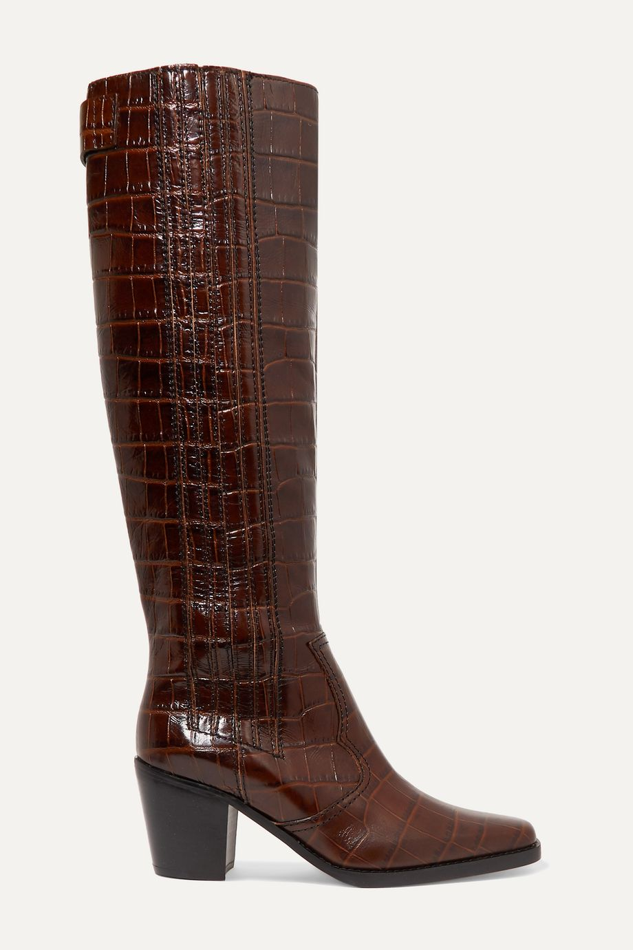 GANNI Western croc-effect leather knee boots