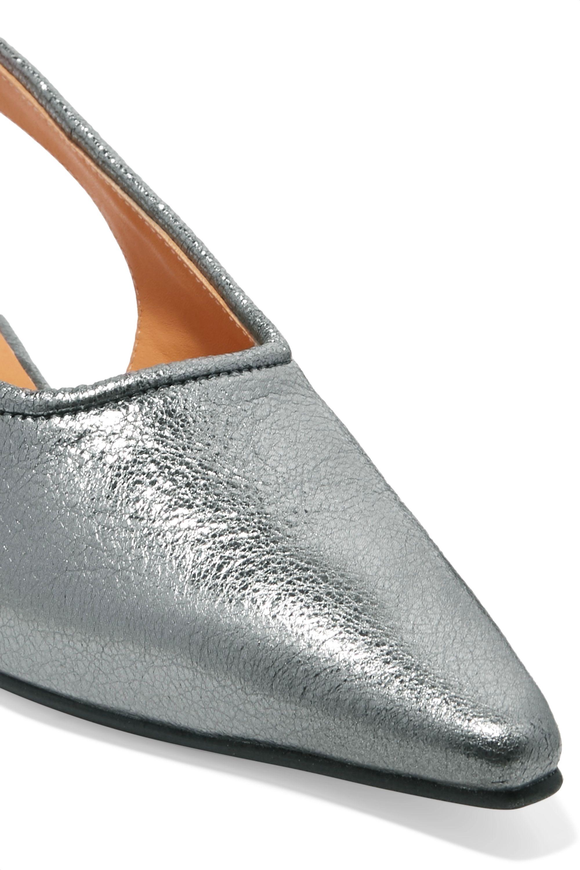 GANNI Metallic leather slingback pumps