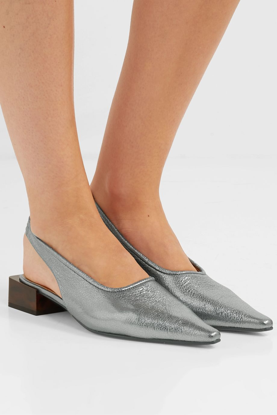GANNI Slingback-Pumps aus Leder in Metallic-Optik
