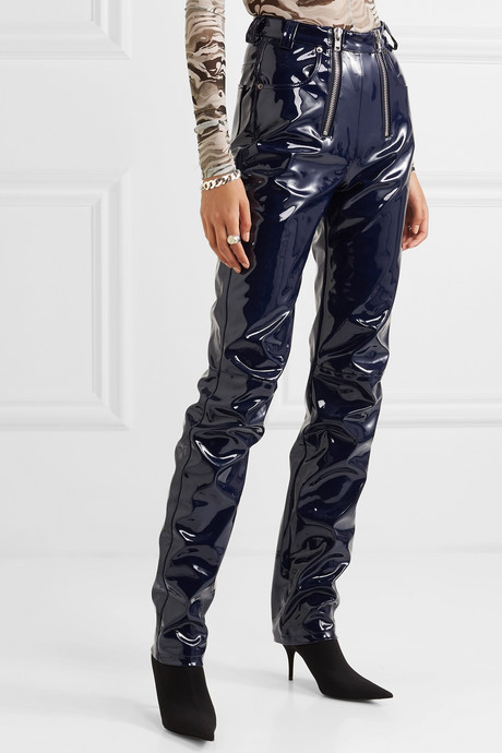 Frey zip-embellished glossed-PU tapered pants