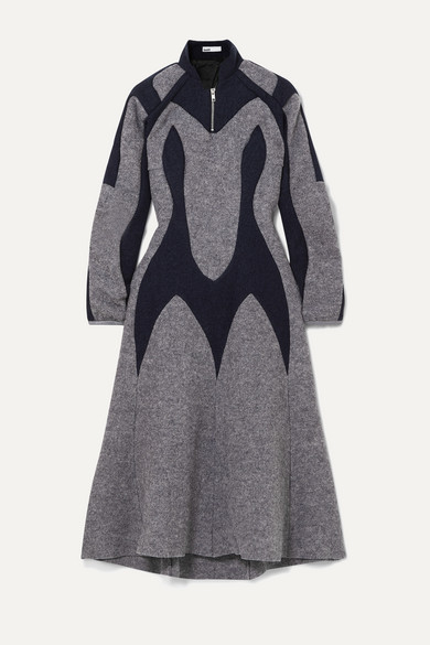 Gmbh Dresses Arak two-tone paneled wool-felt midi dress