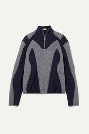 Atrisia two-tone paneled wool-felt sweater