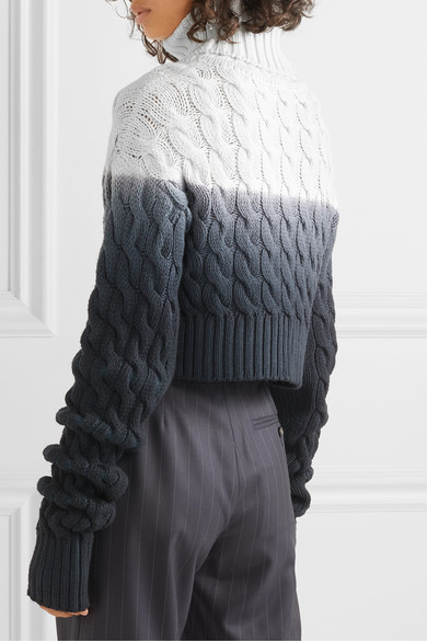 Ombré Cable Knit Wool Turtleneck Sweater by Matthew Adams Dolan