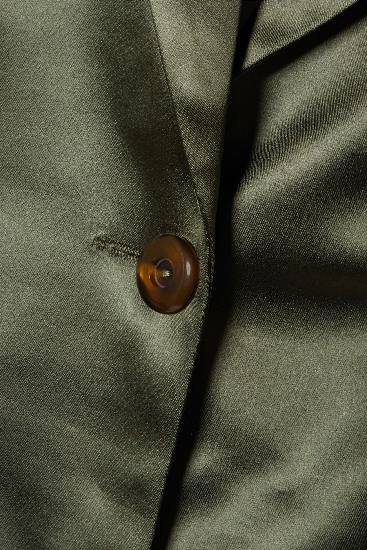 De La Vali Hawkins belted stretch-satin blazer