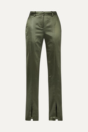 Blues stretch-satin slim-leg pants