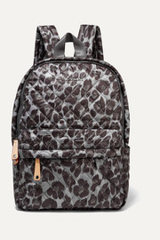 Metro leather-trimmed leopard-print quilted ripstop backpack