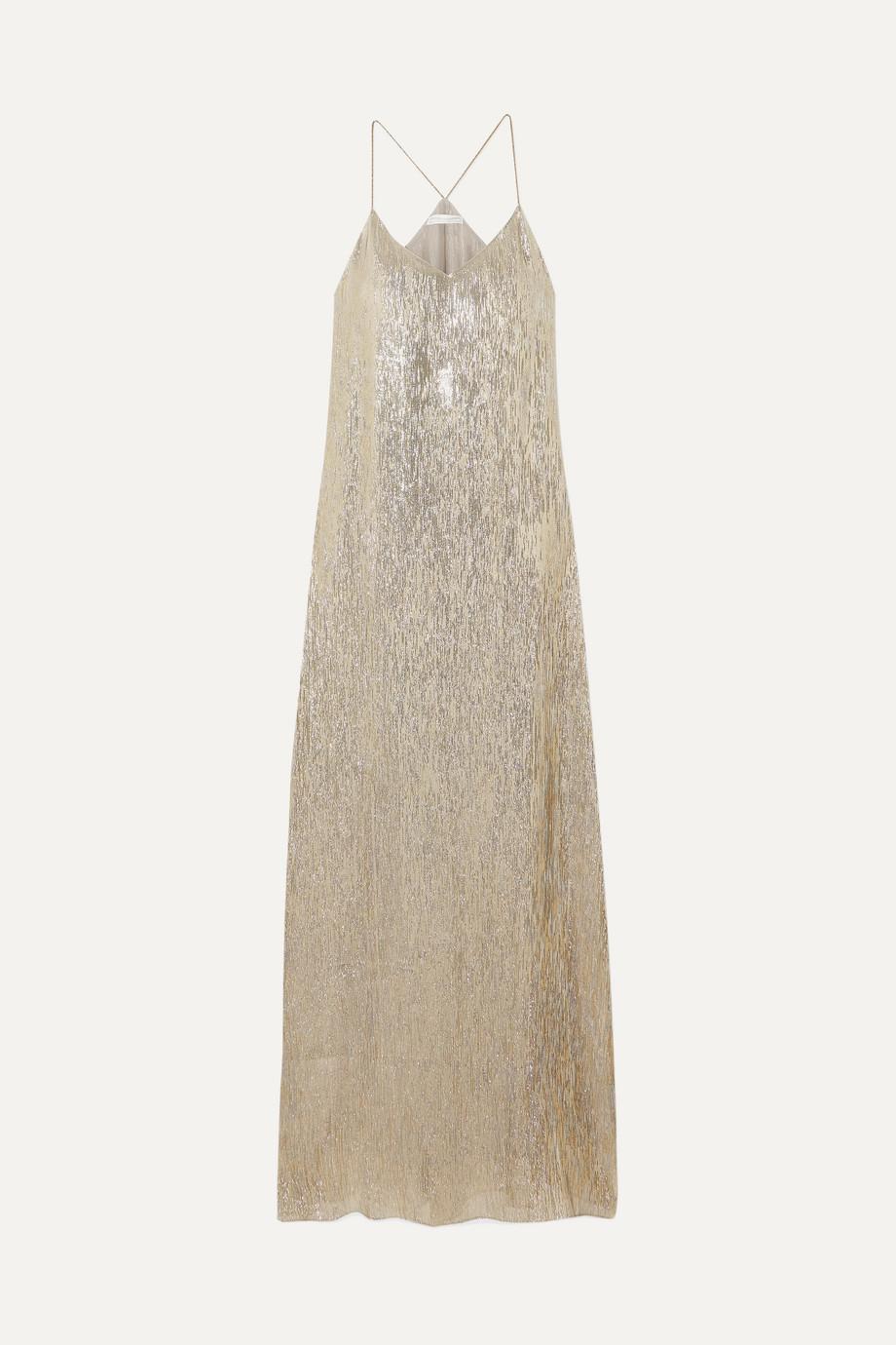Marie France Van Damme | Metallic silk and Lurex-blend maxi dress | NET-A-PORTER.COM