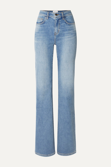 Current Elliott The Scooped Jarvis Mid-rise Flared Jeans In Light Denim