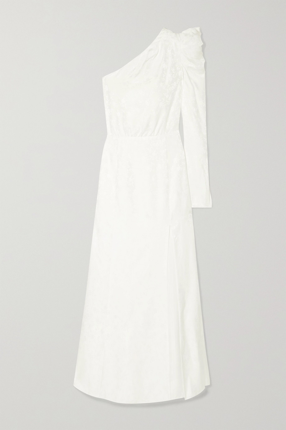 Les Rêveries One-shoulder ruched silk-jacquard gown