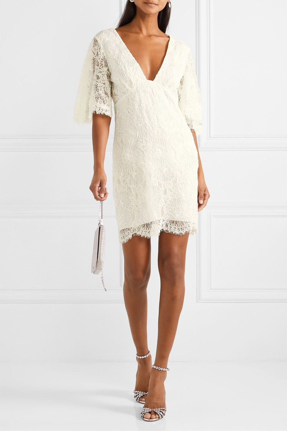Les Rêveries Open-back corded lace mini dress