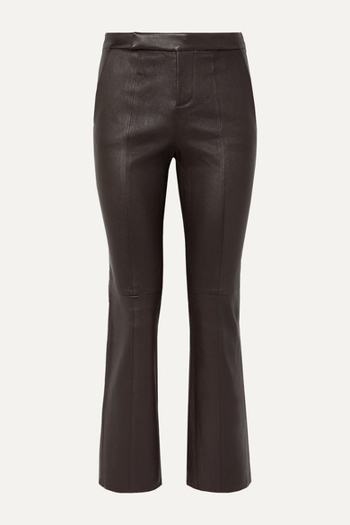 Equipment Sebritte Cropped Leather Flared Pants In Dark Brown