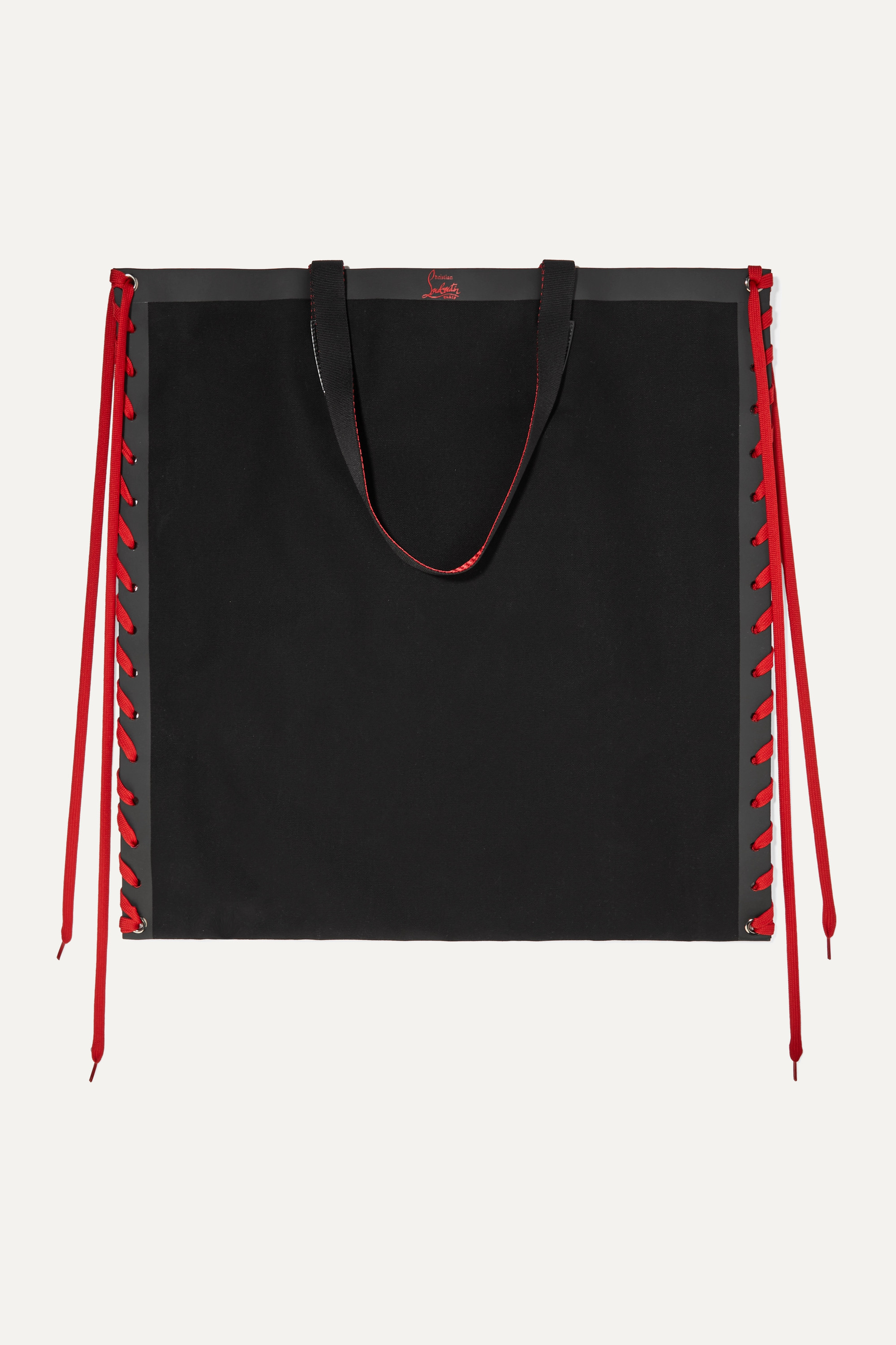 Christian Louboutin Cabalace lace-up leather-trimmed canvas tote
