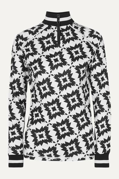 Madeline Printed Stretch Jersey Turtleneck Top by Bogner