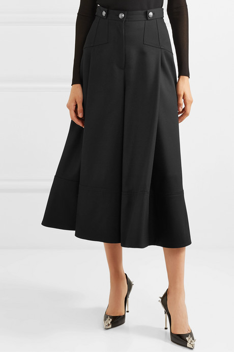Button-embellished pleated wool-crepe culottes