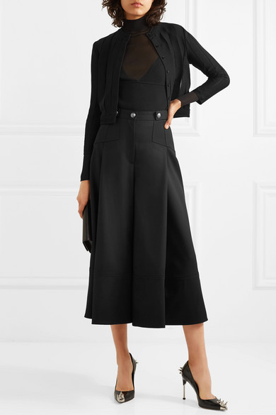 Button Embellished Pleated Wool Crepe Culottes by Alexander Mc Queen