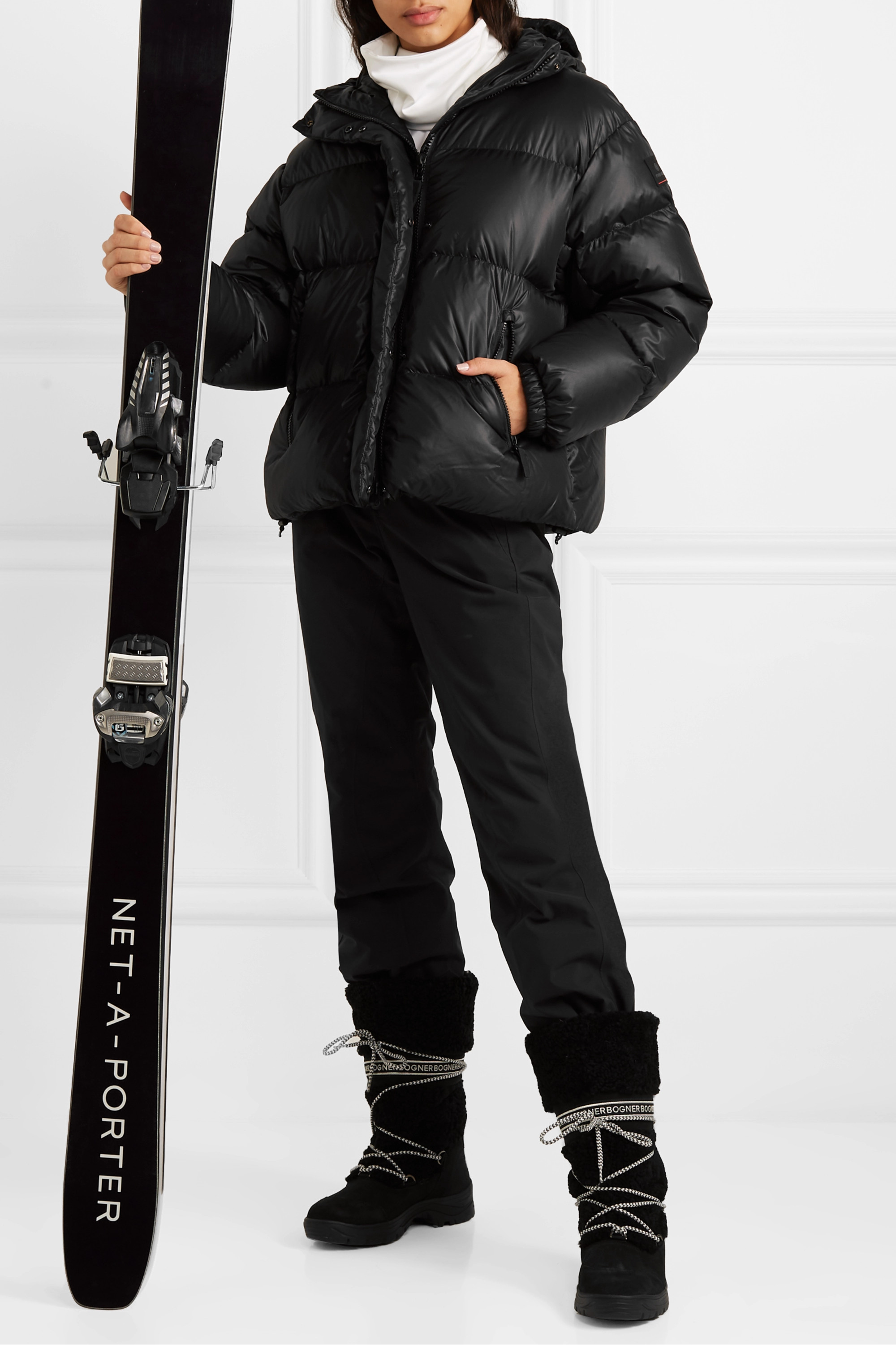 BOGNER FIRE+ICE Ranja oversized cropped hooded quilted down ski jacket
