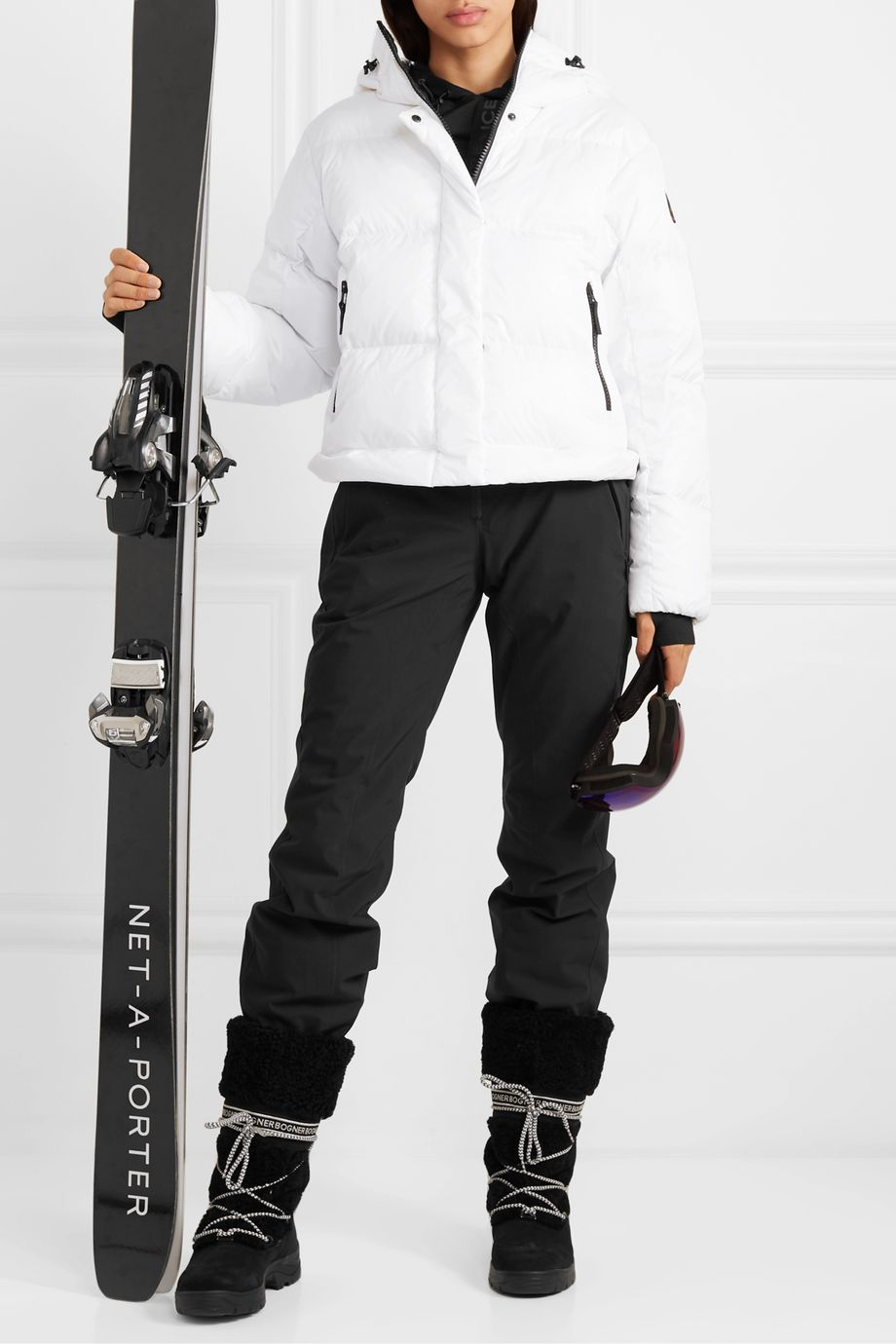 BOGNER FIRE+ICE Bia convertible hooded quilted down ski jacket