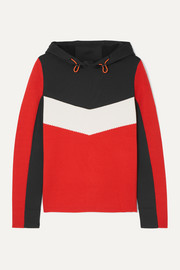 Mariah color-block wool-blend and scuba hoodie
