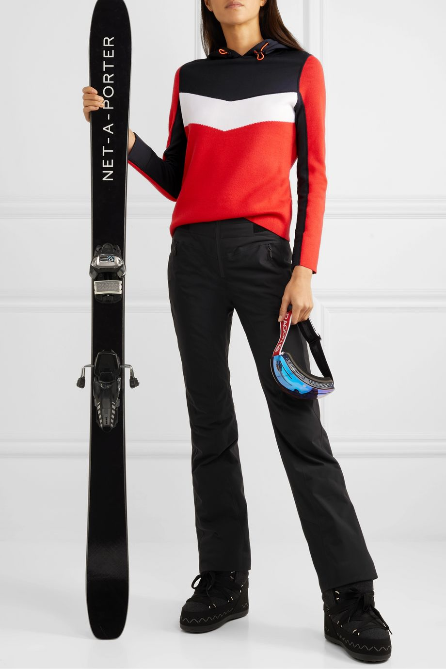 BOGNER FIRE+ICE Mariah color-block wool-blend and scuba hoodie