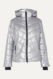 Sassy2 hooded quilted metallic shell ski jacket