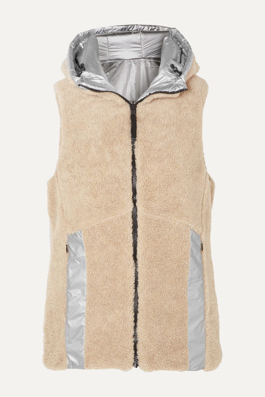 BOGNER FIRE+ICE Peggy reversible hooded faux shearling and quilted metallic shell vest