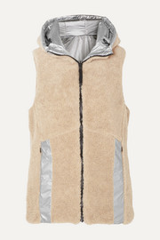 Peggy reversible hooded faux shearling and quilted metallic shell vest