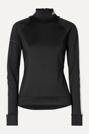 BOGNER FIRE+ICE Dunja laser-cut striped stretch-jersey base layer