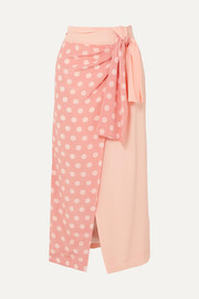 + NET SUSTAIN and BBC Earth Annabelle wrap-effect polka-dot organic silk skirt